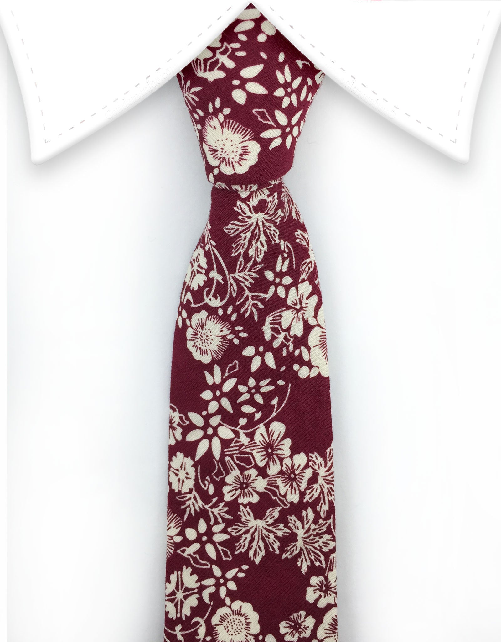burgundy floral tie with cream flowers