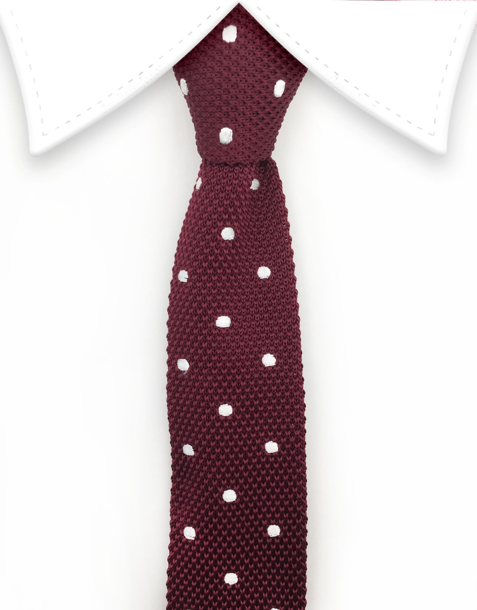 burgundy and white dot knitted necktie