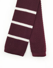 burgundy white knit tie