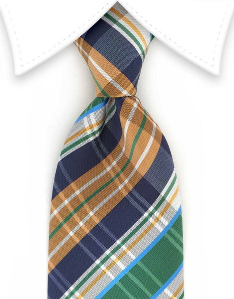 Caramel, Green & Navy Plaid Tie