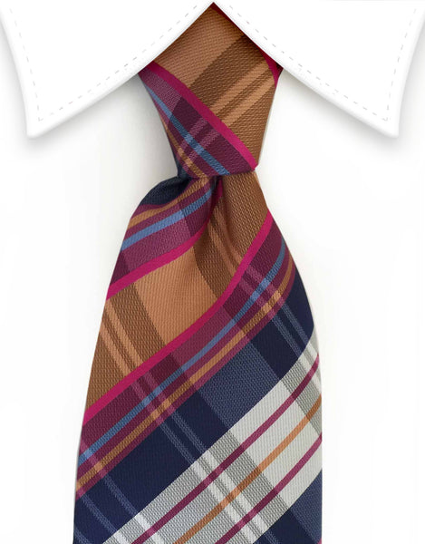 Toffee, Navy Blue & Pink Plaid Tie