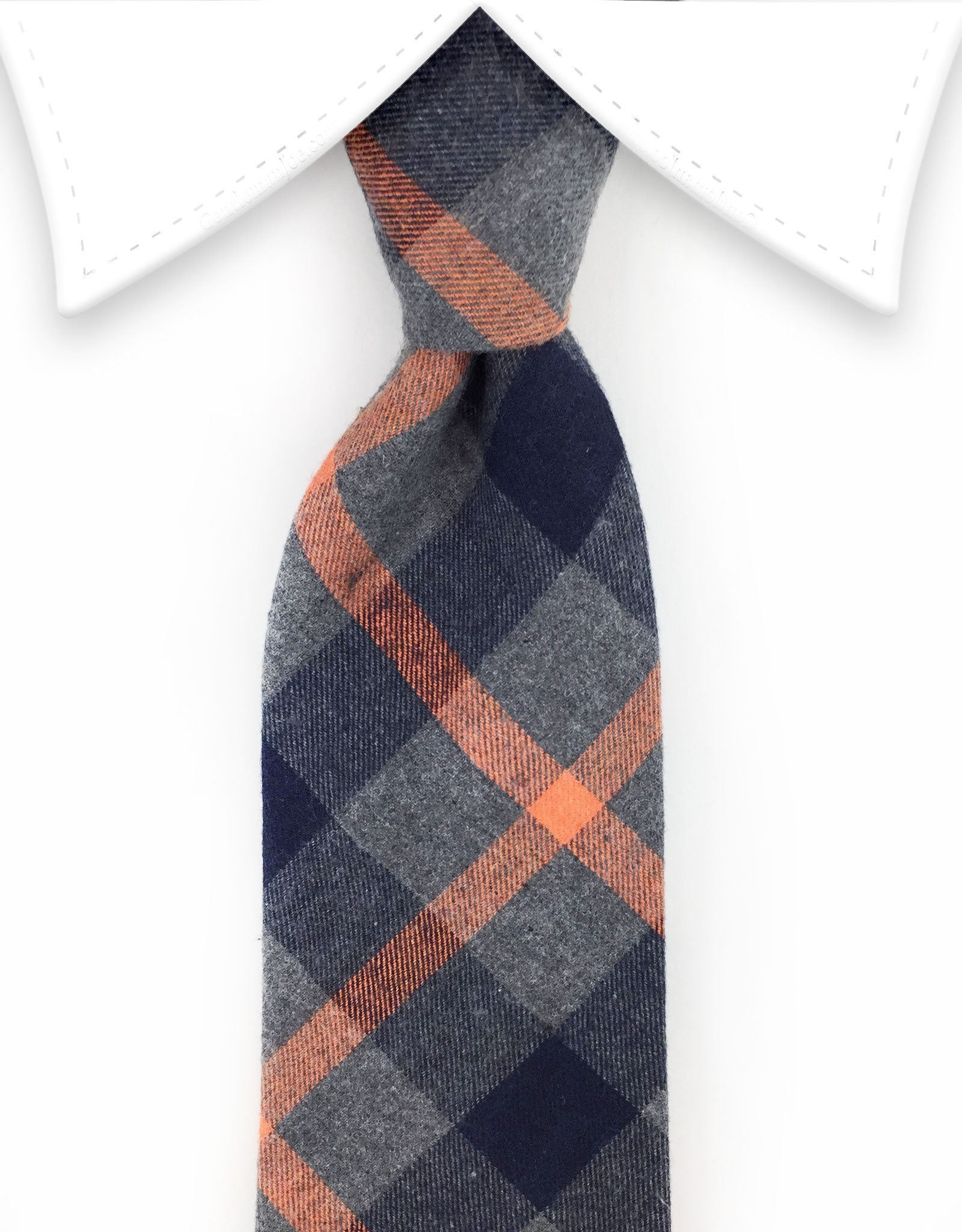 Charcoal gray & orange cotton tie
