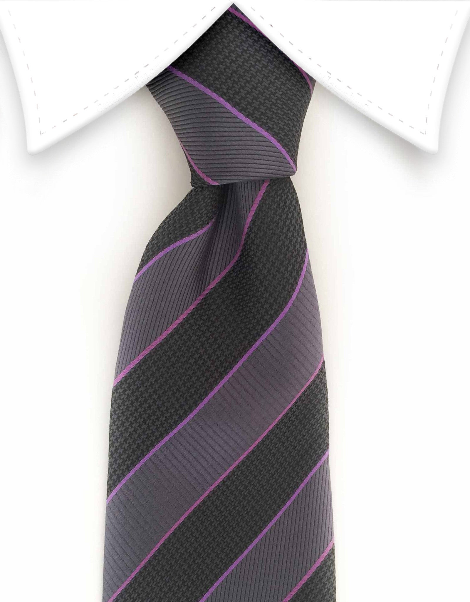 black and charcoal gray striped tie