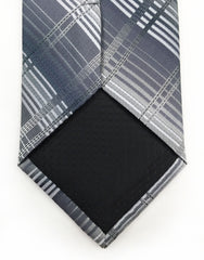 Silver Gray Plaid Tip of Tie