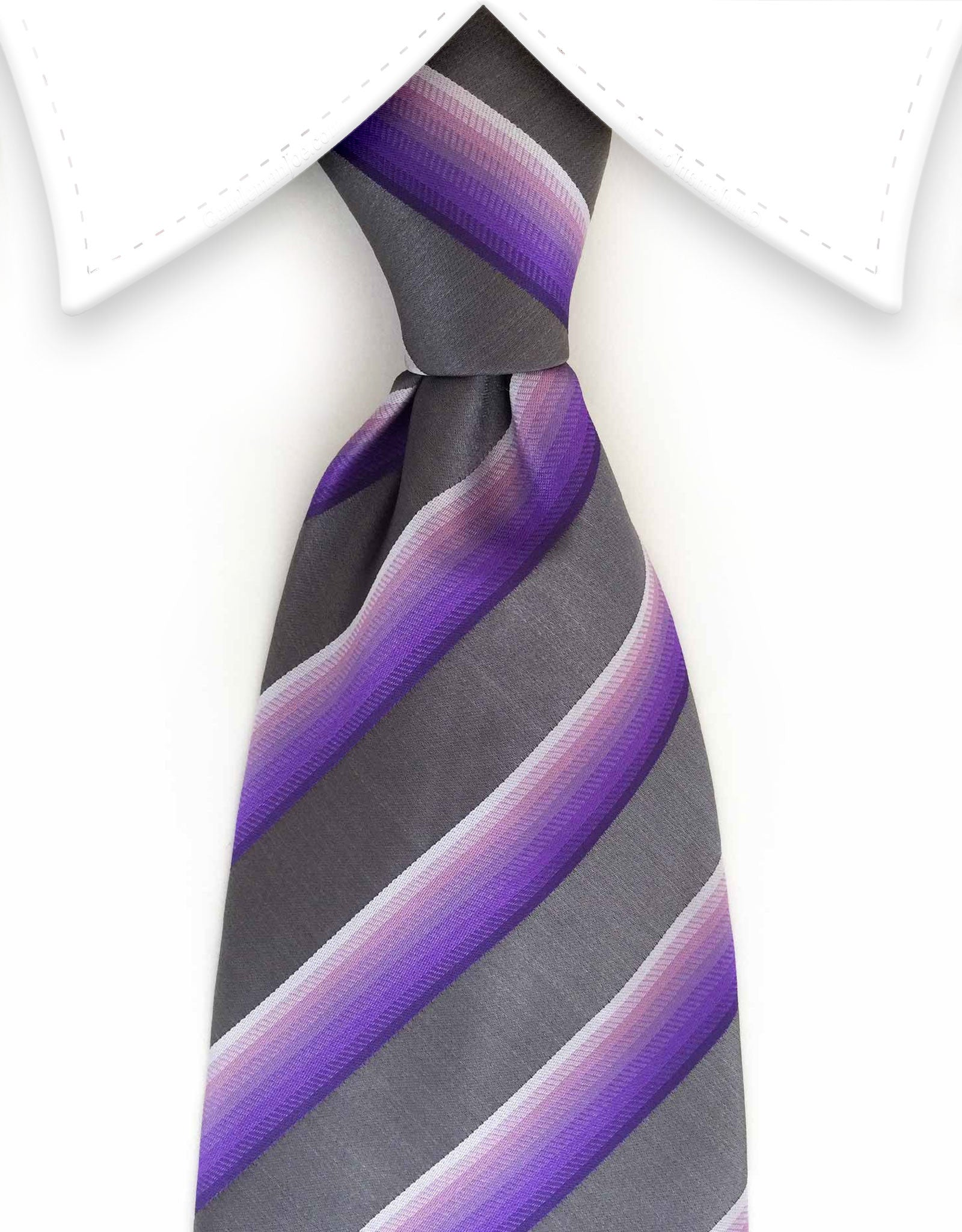 silver charcoal gray purple striped necktie