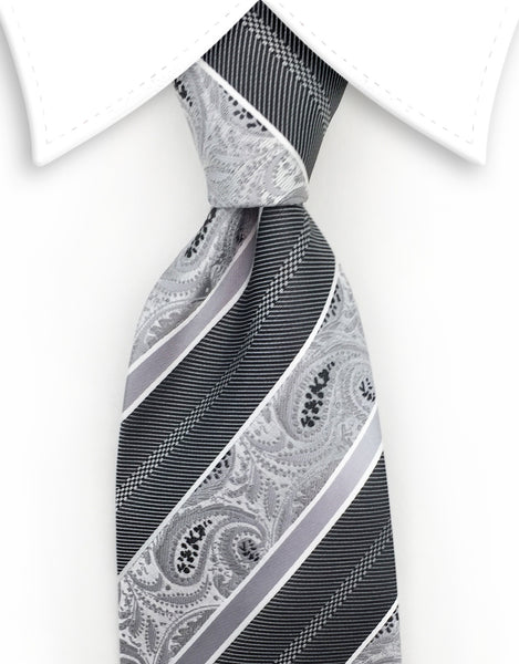 Silver paisley tie with charcoal & silver stripes