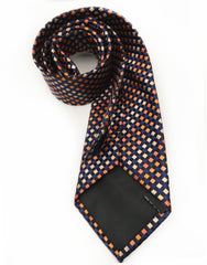 navy orange silk necktie