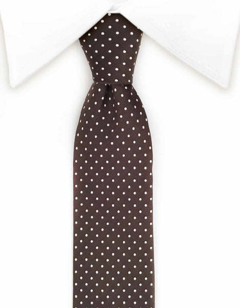 brown silk tie with white polka dots