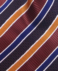 Navy and Multi-colored Brown Striped Necktie
