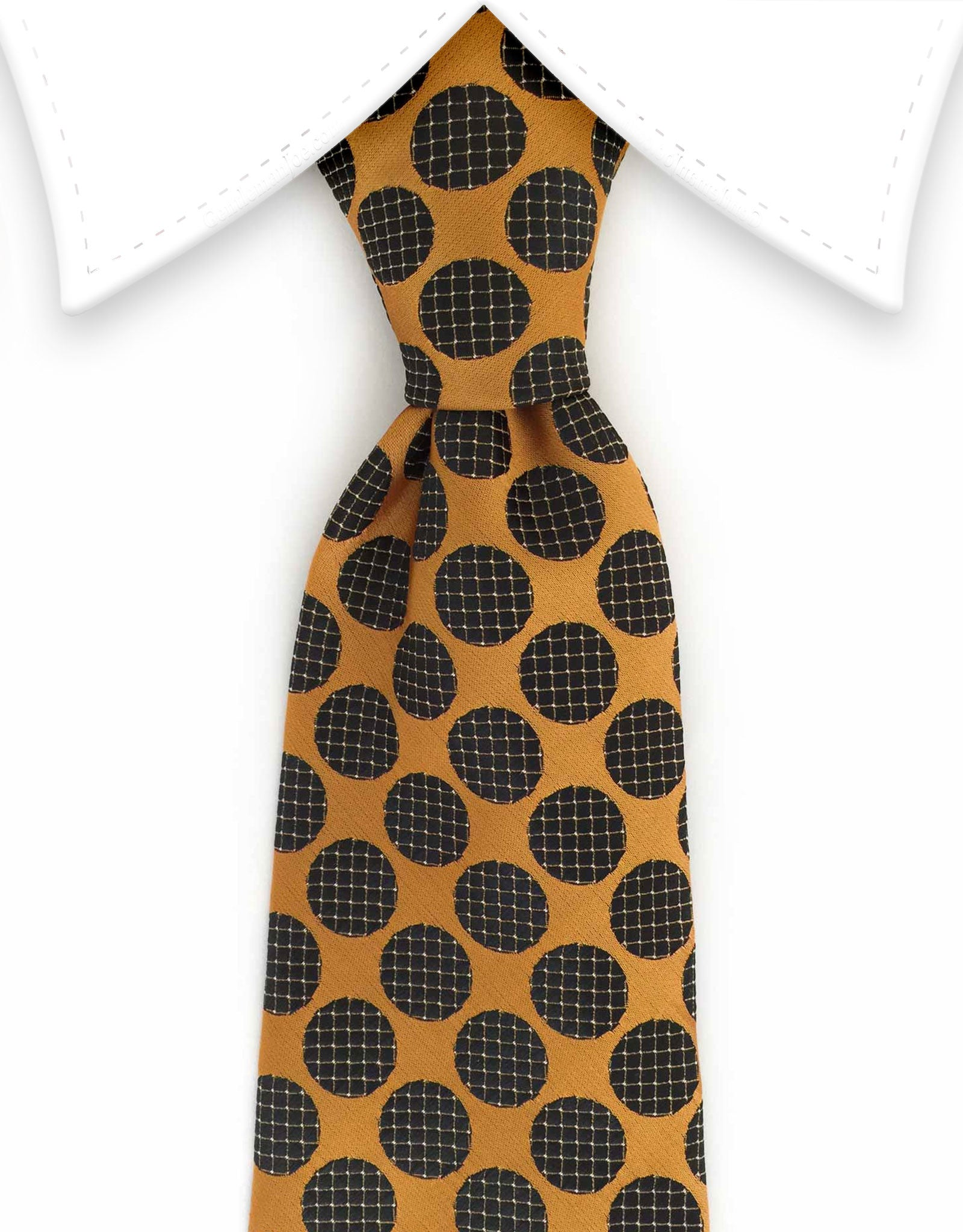 Copper and black polka dot tie