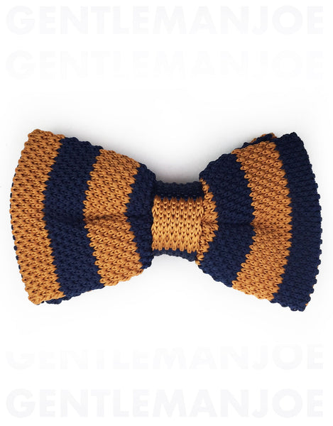 Navy Blue & Copper Orange Knit Bow Tie