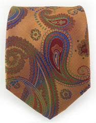 copper green blue paisley tie