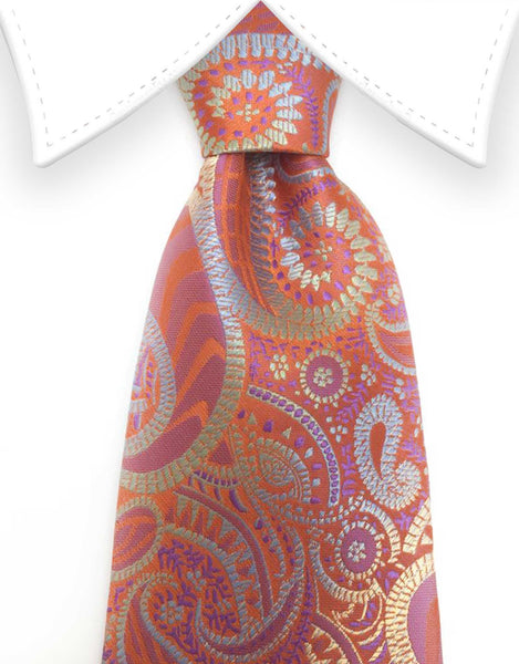burnt orange and metallic paisley tie