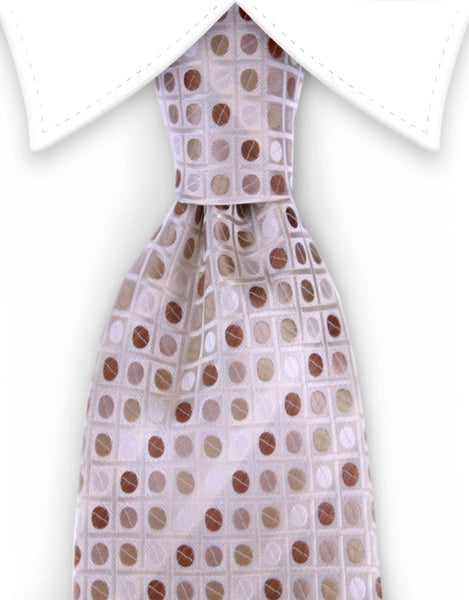 Cream, beige, brown polka dot necktie