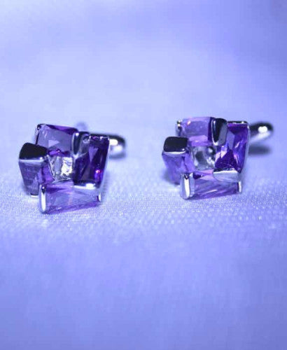 purple crystal cufflinks in a plated silver setting