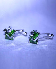 Elegant green stone cuff links