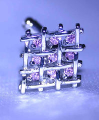 Pink Crystal Cufflinks in Silver Plated Crisscross Setting