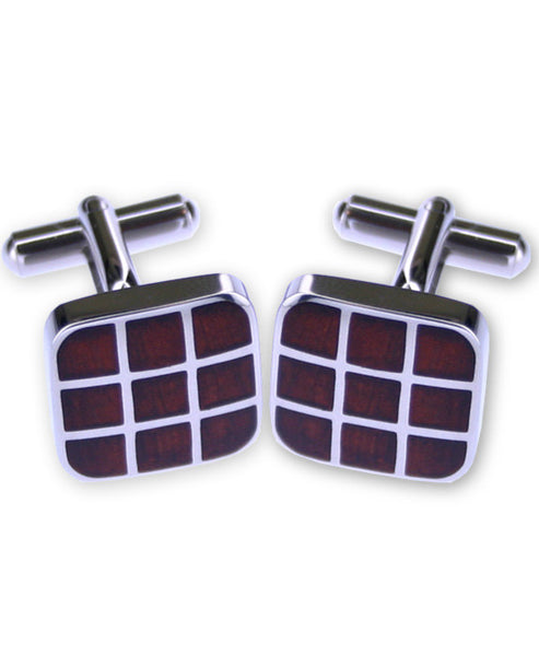 Wooden Square Cuff Links