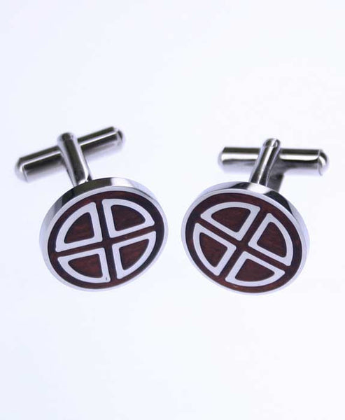 Circle Silver and Wood Cufflinks