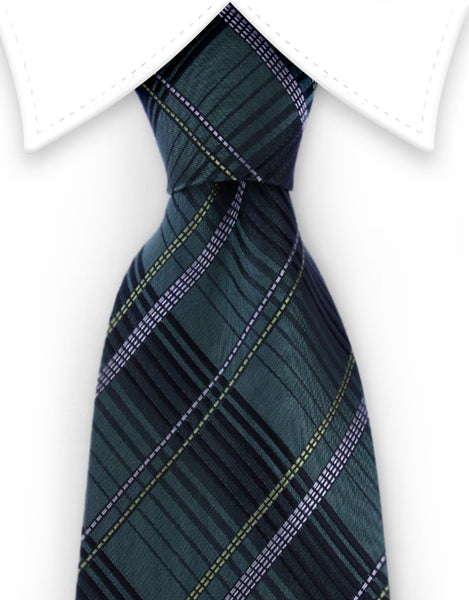 hunter green and black plaid tie