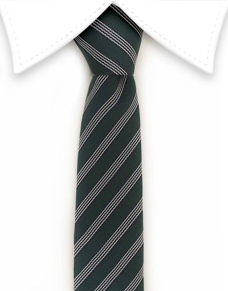 Green striped skinny tie with floral tip