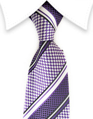 Purple & light silver tie
