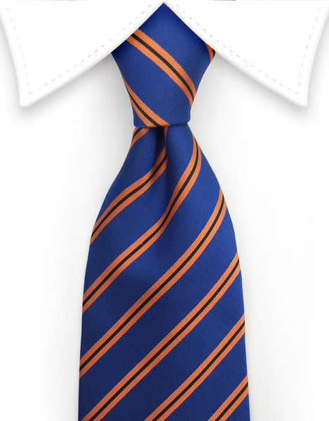 denim blue & orange striped ties