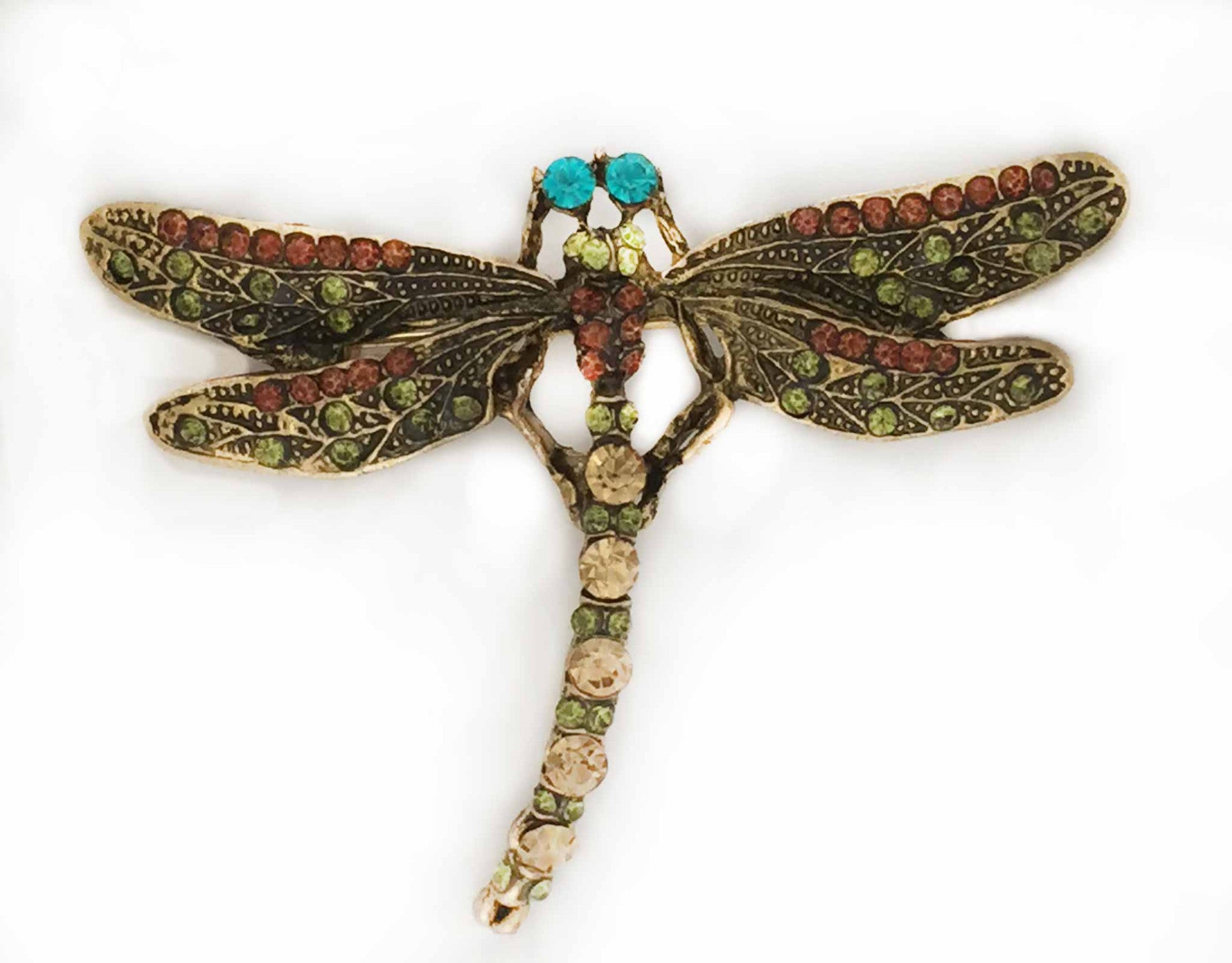 dragon fly crystal lapel pin