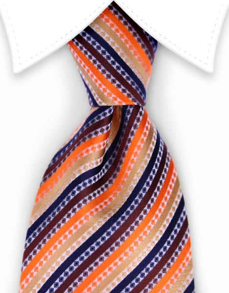 Orange and navy striped tie