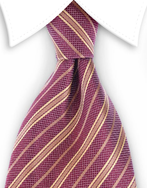 brick red & gold striped necktie
