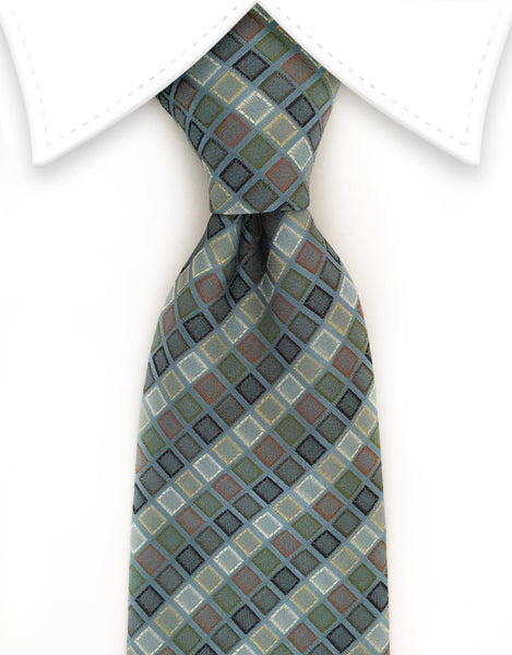 Steel blue gray tie with multi-colored squares