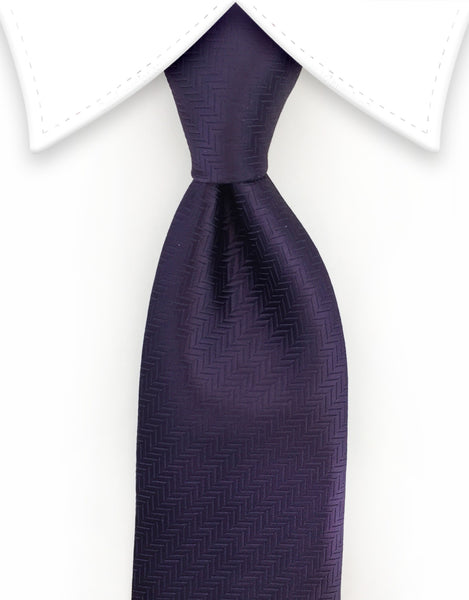 eggplant purple herringbone tie