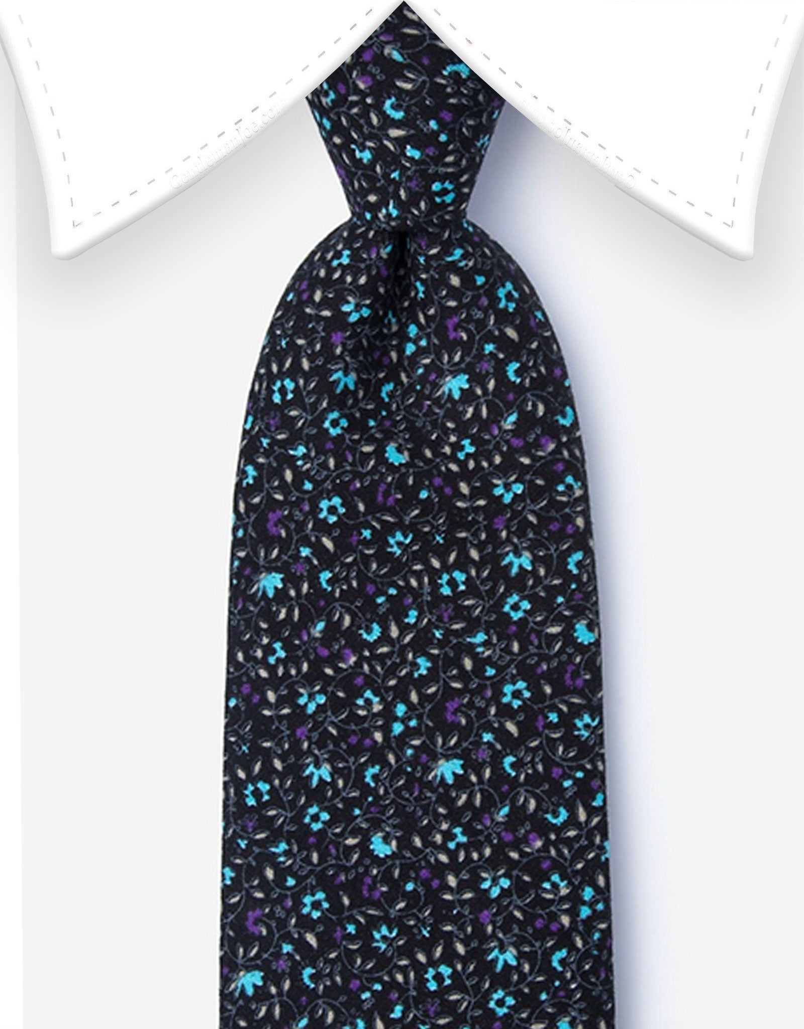 Black Floral Extra Long Tie