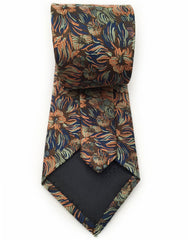 navy blue, orange, green floral tie