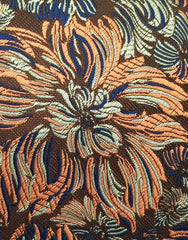 orange, green, navy blue floral tie swatch