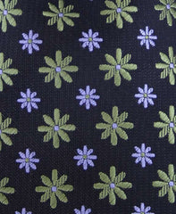 Green Flowered Tie - Close Up