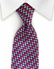 pink and blue striped checked tie