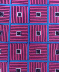 Fuchsia Tie with Blue Squares