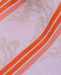 antique white paisley tie with orange stripe