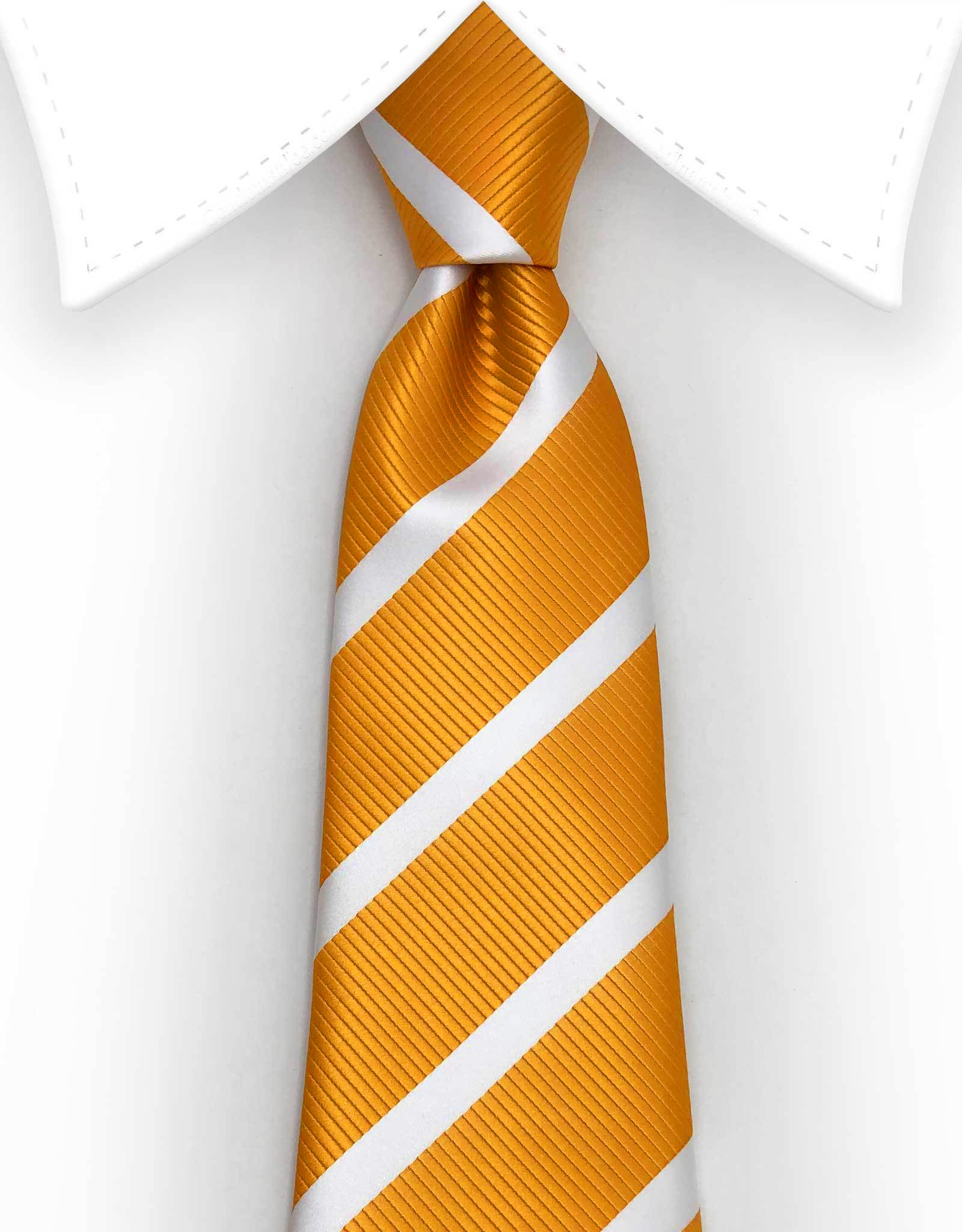 golden orange white striped extra long length 70 inch tie