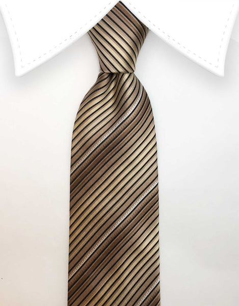 Gold Striped Mens Tie