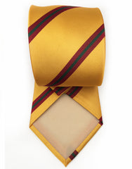 yellow tie with red and green stripes