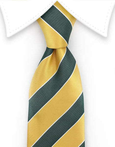 Gold And Green Striped Necktie Gentlemanjoe