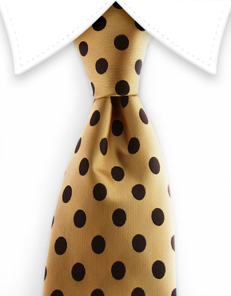 Gold and black polka dot extra long tie