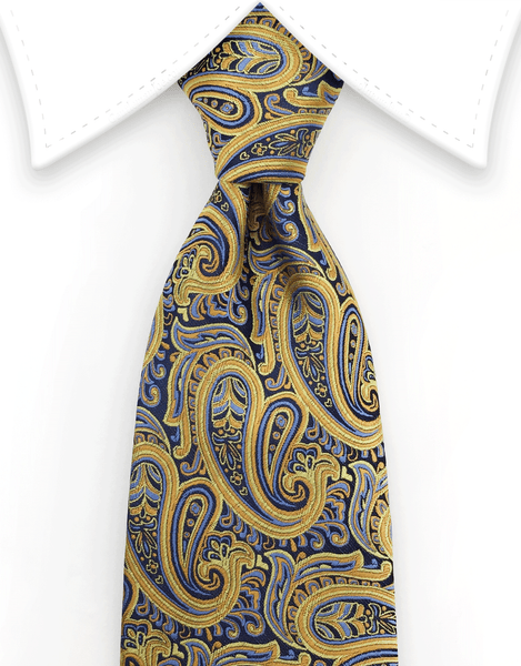 Gold, orange, blue silk paisley tie