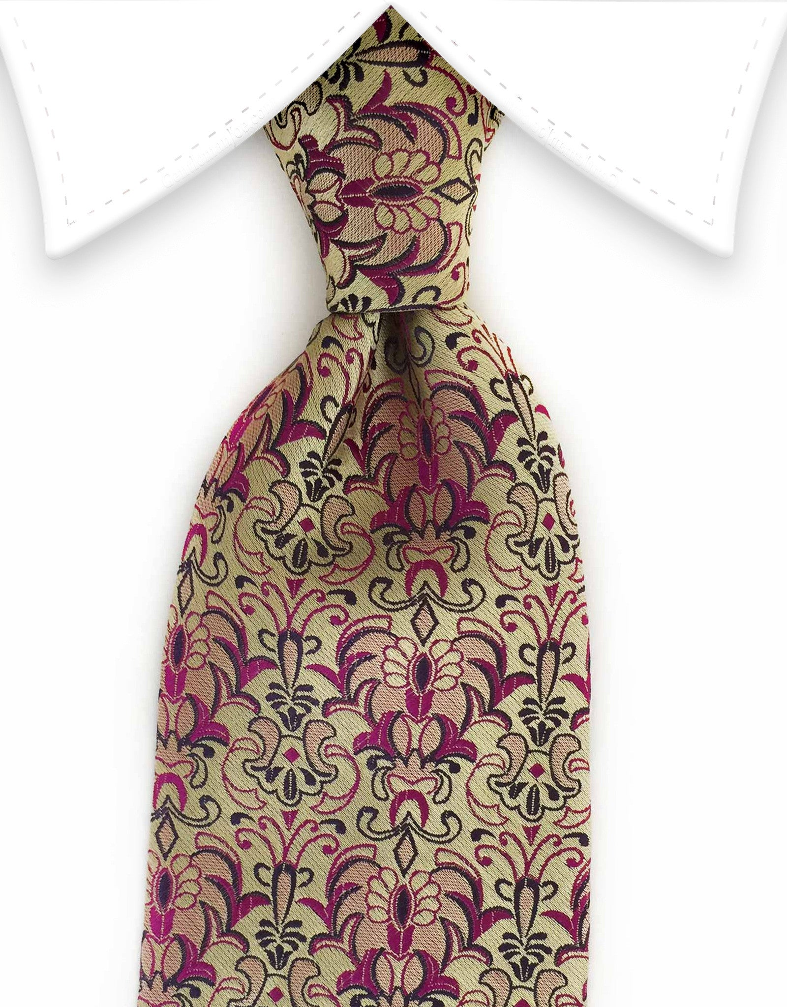 gold tie with fuchsia pink floral design