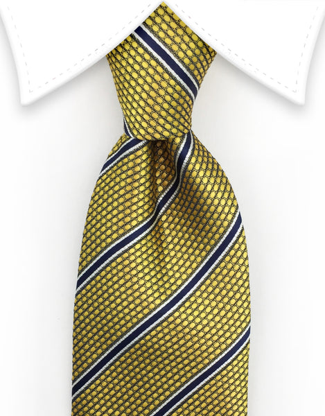 gold navy blue tie