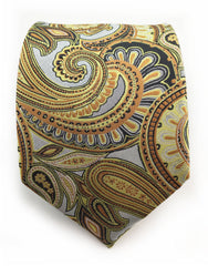 silver copper gold paisley tie