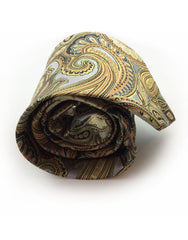 silver orange yellow gold paisley rolled up tie