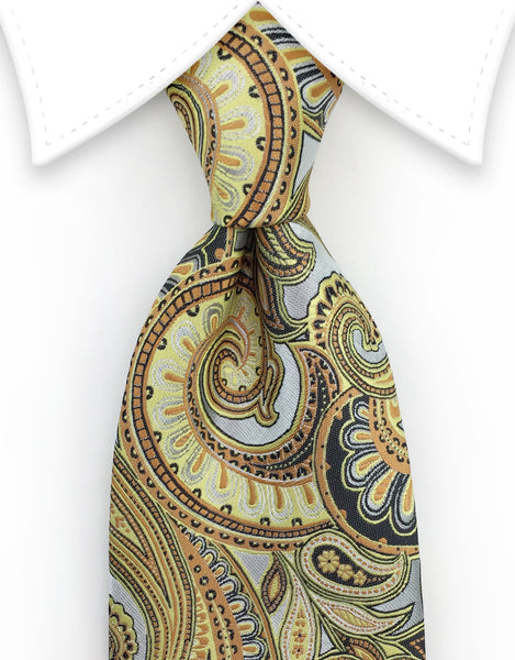 silver gold paisley tie